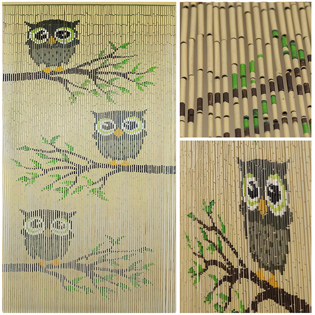 "Bamboo Beaded Curtain 35.5"" wide X 78"" high-90 strands- Owl"