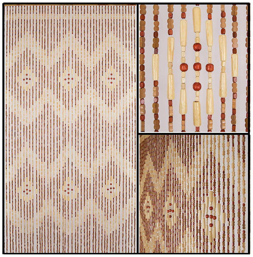 "Wood and Bamboo Beaded Curtain 35.5"" wide X 77"" high - 45 Strands -Pride"