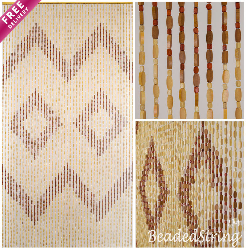 "Wood and Bamboo Beaded Curtain 35.5"" wide X 77"" high - 45 Strands -Efa"