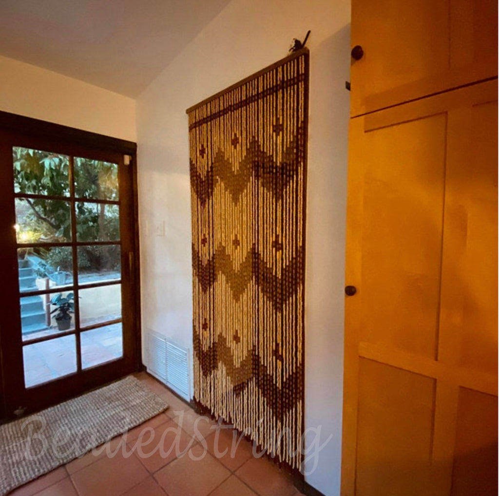 "Wood and Bamboo Beaded Curtain 35.5"" wide X 77"" high - 45 Strands -Garden"