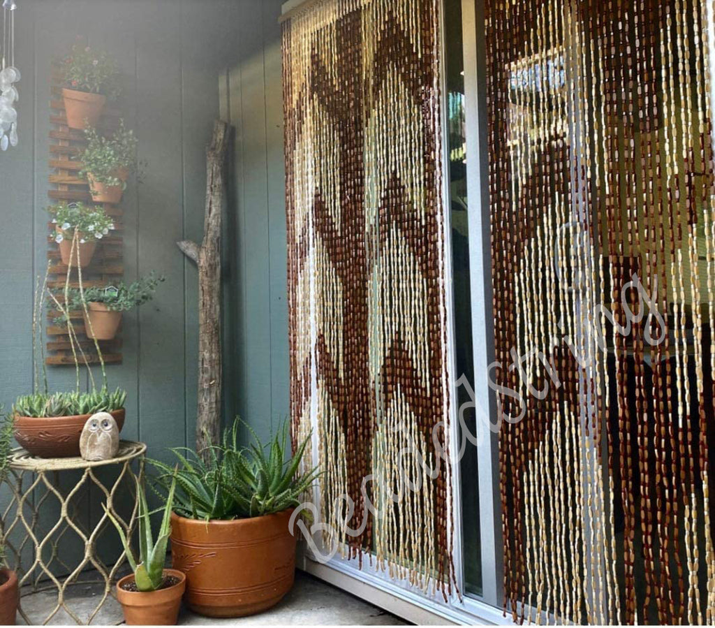 "Wood and Bamboo Beaded Curtain 35.5"" wide X 77"" high - 45 Strands -Panna"