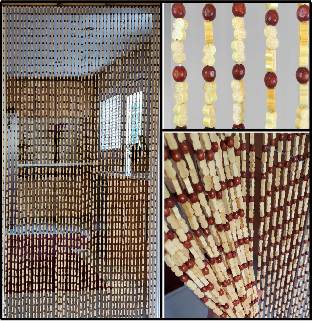 "Defective Copy of Wood and Bamboo Beaded Curtain 35.5"" wide X 77"" high - 45 Strands -Sunshine"