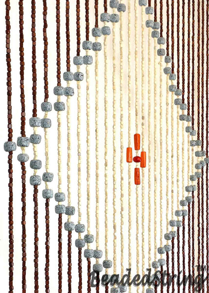 Wooden Beaded Curtain-BlueC-4