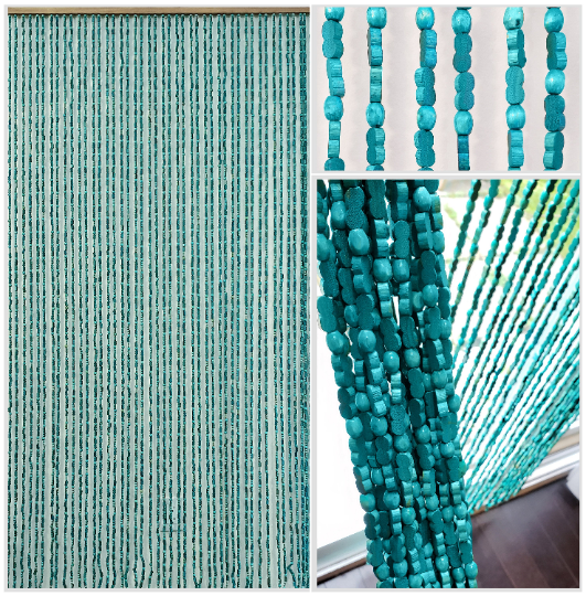 "Wood and Bamboo Beaded Curtain 35.5"" wide X 77"" high - 45 Strands -SunshineBL"