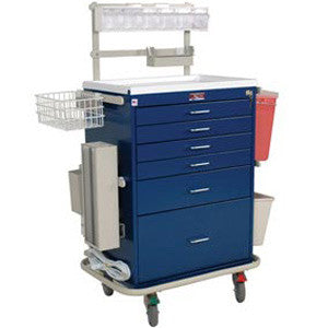 Harloff 6456 Tall 6 Drawer Anesthesia Cart with Key Lock, Deluxe Package
