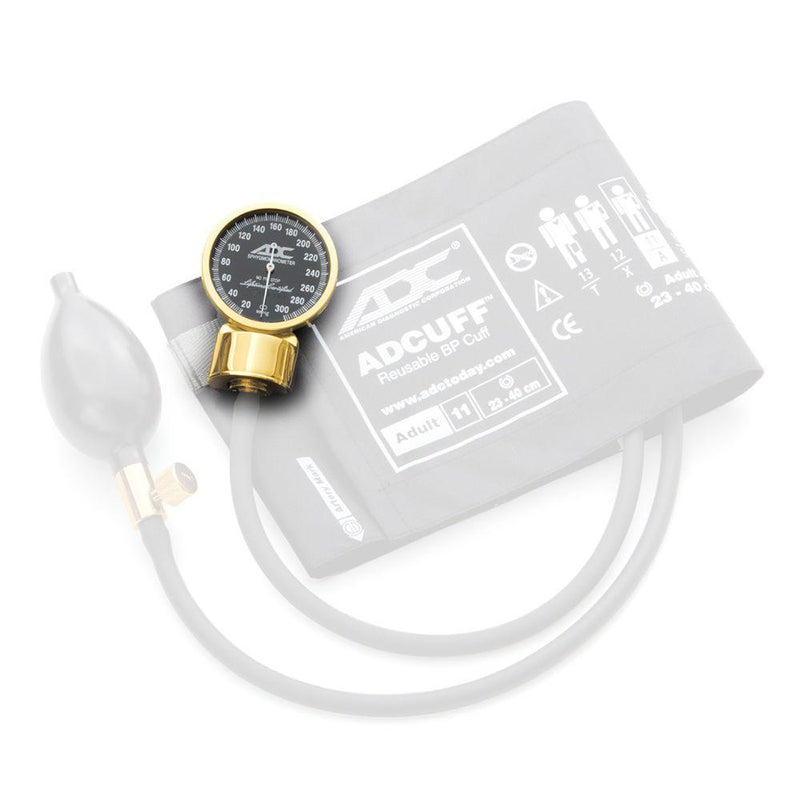 ADC 800GP Gold Plated Aneroid Gauge for Diagnostix 700/778 Pocket Sphygmomanometers - With Cuff and Bulb