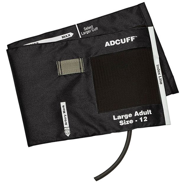 ADC Adcuff Cuff and Bladder with One Tube and Female Luer Connector - Large Adult - Black