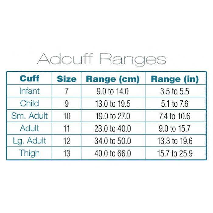 ADC Adcuff Cuff and Bladder with One Tube and Female Luer Connector - Cuff Sizing Chart