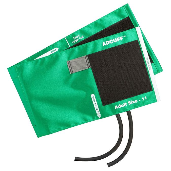 ADC Adcuff Cuff and Bladder with Two Tubes - Adult - Green