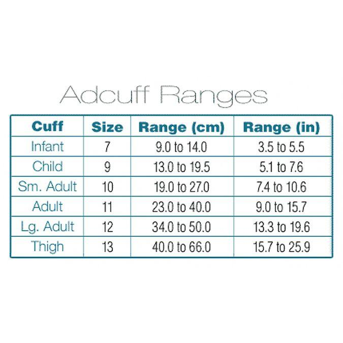 ADC Adcuff Sphygmomanometer Inflation System - Small Adult - Cuff Sizing Chart