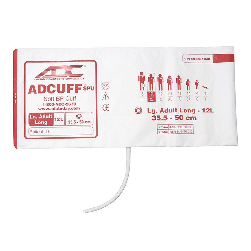 ADC Adcuff SPU Cuff and Bladder with One Tube and Bayonet Connector - Large Adult Long - Burgundy