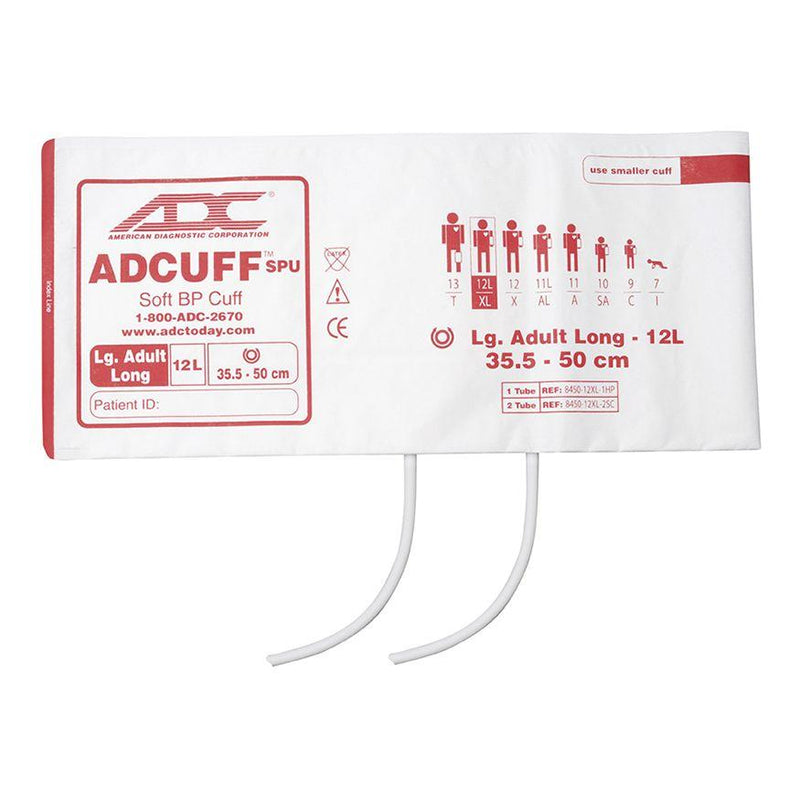 ADC Adcuff SPU Cuff and Bladder with Two Tubes - Large Adult Long - Burgundy