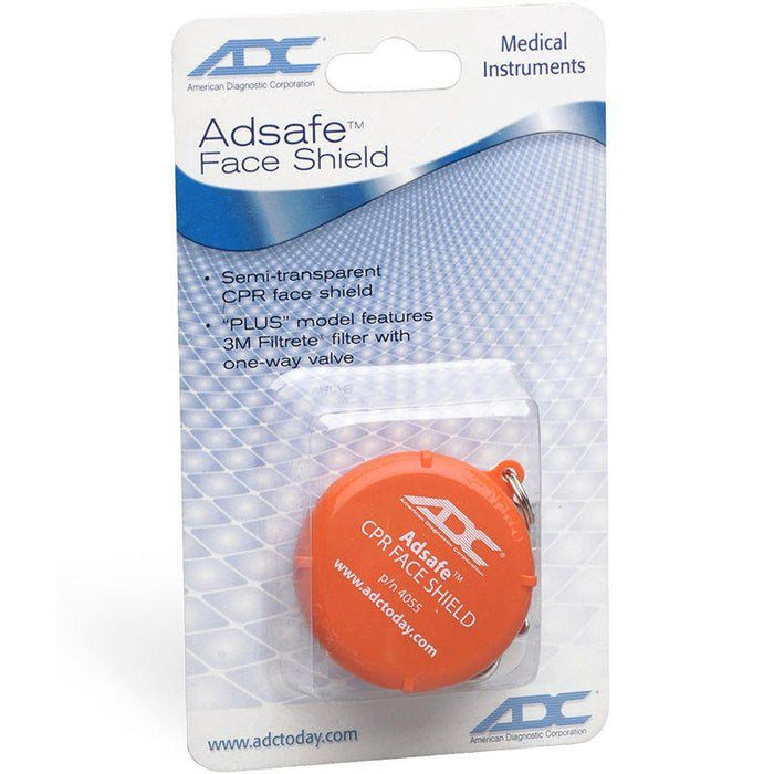 ADC Adsafe CPR Face Shield with Keychain - Orange Display Packaging