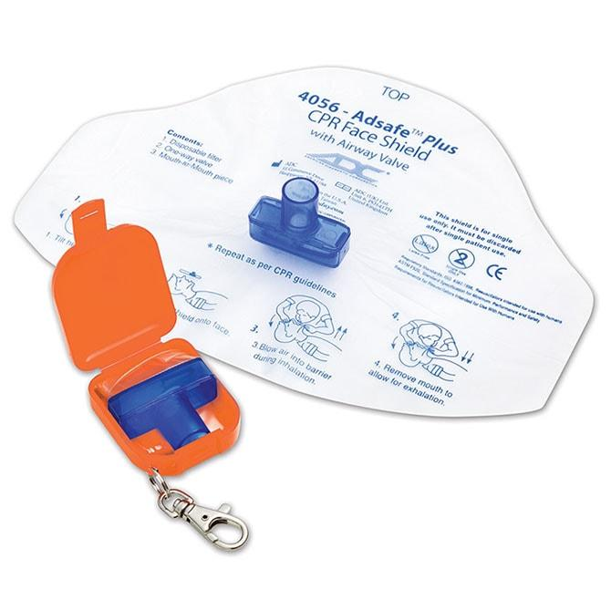 ADC Adsafe Plus CPR Face Shield with One Way Valve Keychain - Orange