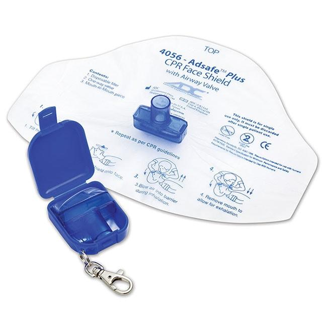 ADC Adsafe Plus CPR Face Shield with One Way Valve Keychain - Royal Blue