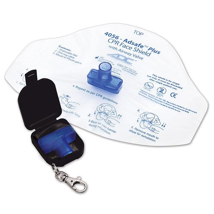 ADC Adsafe Plus CPR Face Shield with One Way Valve Keychain - Black
