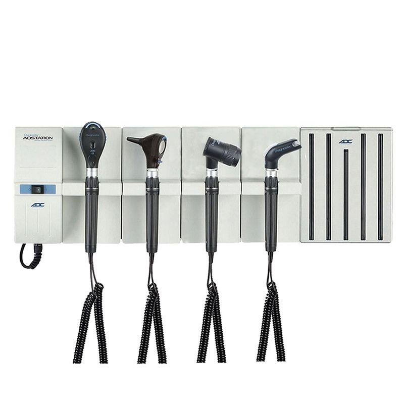 ADC Adstation 5610-56 3.5V Wall Otoscope/Ophthalmoscope/Throat Illuminator/Dermascope Diagnostic Set with Specula Dispenser