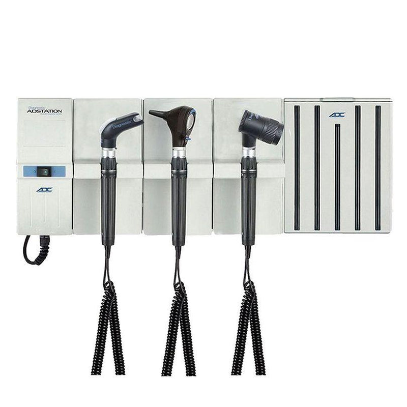 ADC Adstation 5611-56 3.5V Wall Otoscope/Throat Illuminator/Dermascope Diagnostic Set with Specula Dispenser