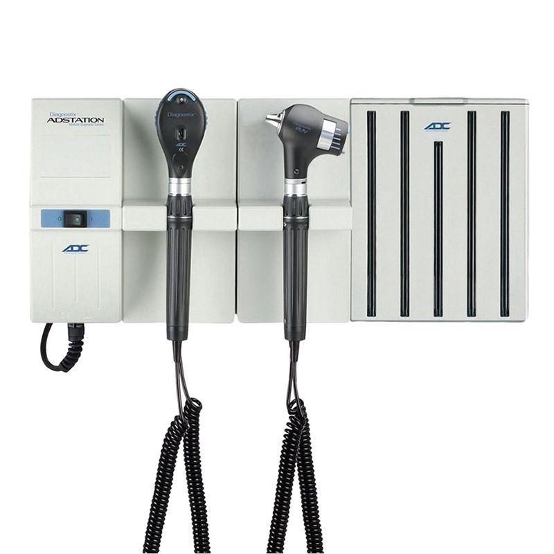 ADC Adstation 56802 3.5V Wall PMV Otoscope/Coax Plus Ophthalmoscope Diagnostic Set with Specula Dispenser