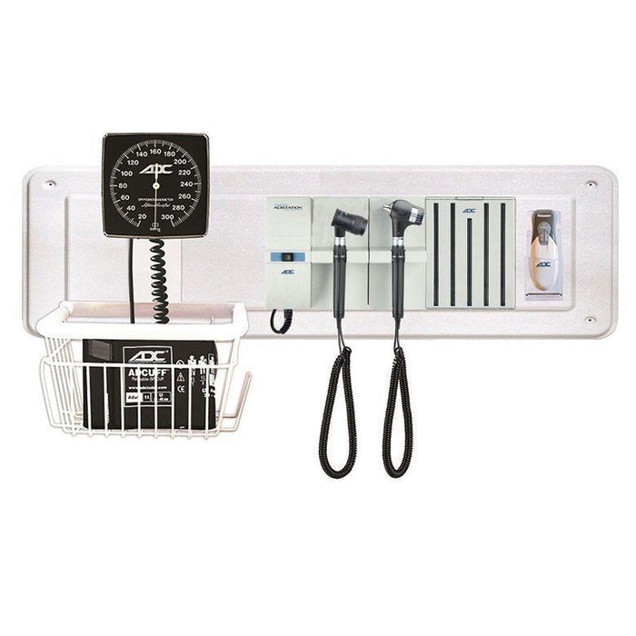 ADC Adstation 5681-35 3.5V Wall PMV Otoscope/Dermascope Diagnostic Set with Wallboard, Clock Aneroid, and Thermometer