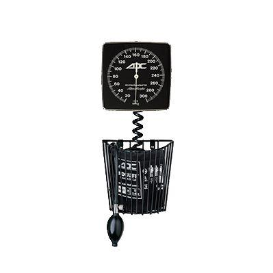 ADC Adstation 5681-6 3.5V Wall PMV Otoscope/Throat Illuminator Diagnostic Set - Clock Aneroid Sphygmomanometer with Basket