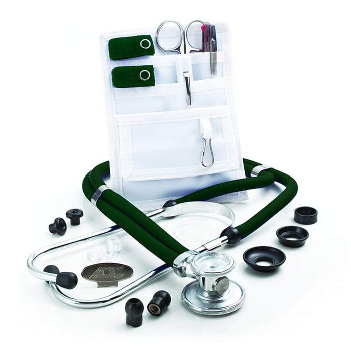 ADC Nurse Combo Adscope 641 Sprague Stethoscope and Pocket Pal II Kit - Dark Green