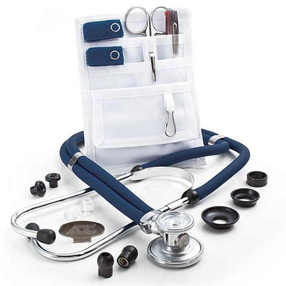 ADC Nurse Combo Adscope 641 Sprague Stethoscope and Pocket Pal II Kit - Navy