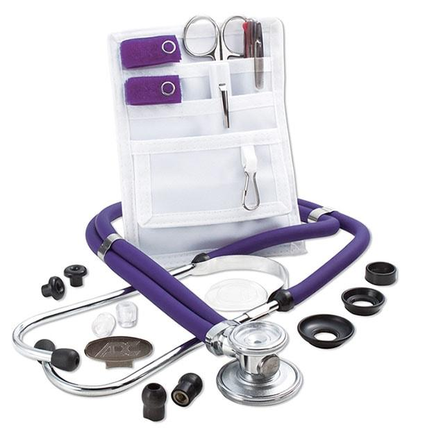 ADC Nurse Combo Adscope 641 Sprague Stethoscope and Pocket Pal II Kit - Purple