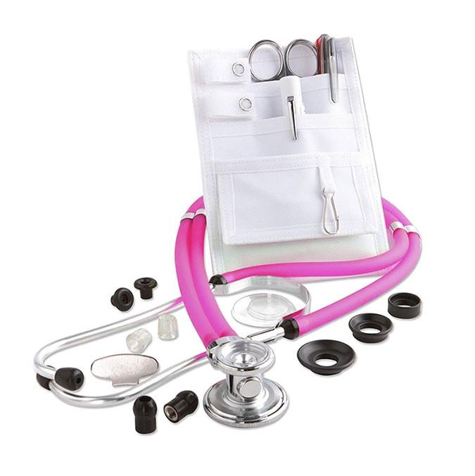 ADC Nurse Combo Adscope 641 Sprague Stethoscope and Pocket Pal II Kit - Frosted Magenta