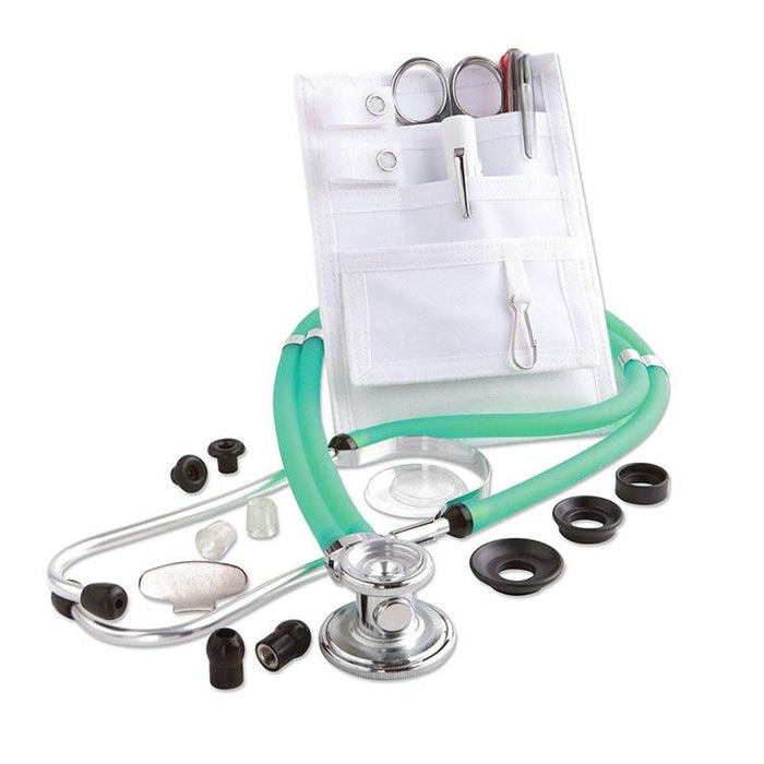 ADC Nurse Combo Adscope 641 Sprague Stethoscope and Pocket Pal II Kit - Frosted Peacock