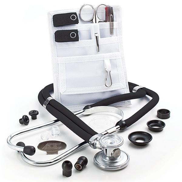 ADC Nurse Combo Adscope 641 Sprague Stethoscope and Pocket Pal II Kit - Black