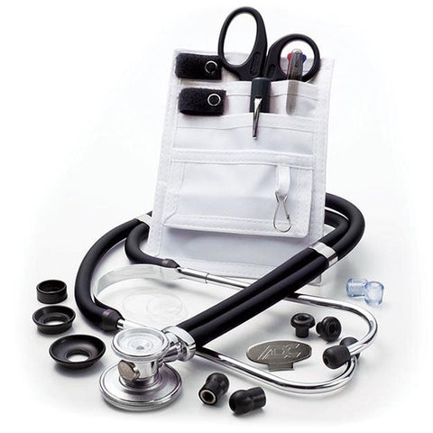 ADC Nurse Combo Plus Adscope 641 Sprague Stethoscope and Pocket Pal III Kit - Black