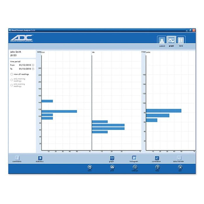 ADC PC Link Analyzer Software for Advantage Automatic Digital Blood Pressure Monitor Screenshot