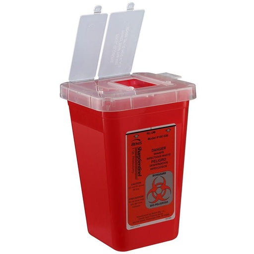 Bemis SharpSentinel 1-Quart Phlebotomy Container - Red
