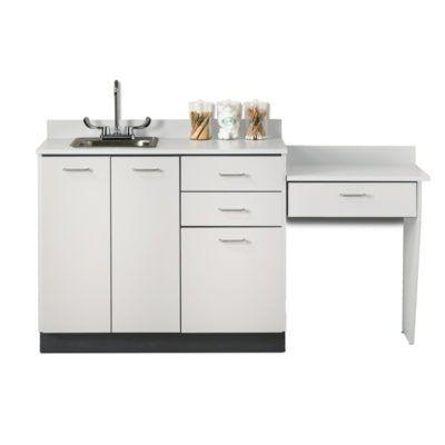 "Clinton 42"" Base Cabinet Set with 3 Doors, 3 Drawers, and Desk - Gray"