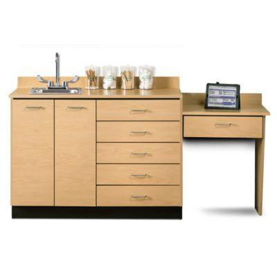 "Clinton 48"" Base Cabinet Set with 2 Doors, 5 Drawers, and Desk - Maple"