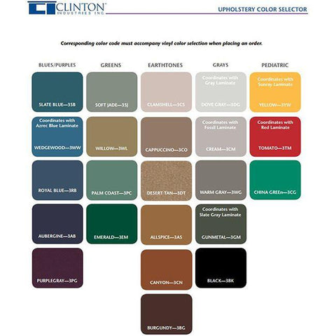 Clinton Lab X Bariatric Padded Blood Drawing Chair Color Chart