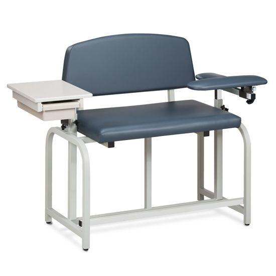 Clinton Lab X Series Bariatric Blood Drawing Chair with Padded Flip Arm and Drawer