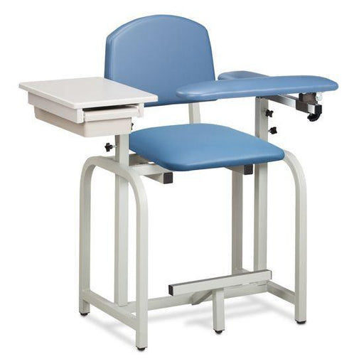 Clinton Lab X Series Extra-Tall Blood Drawing Chair with Padded Flip Arm and Drawer
