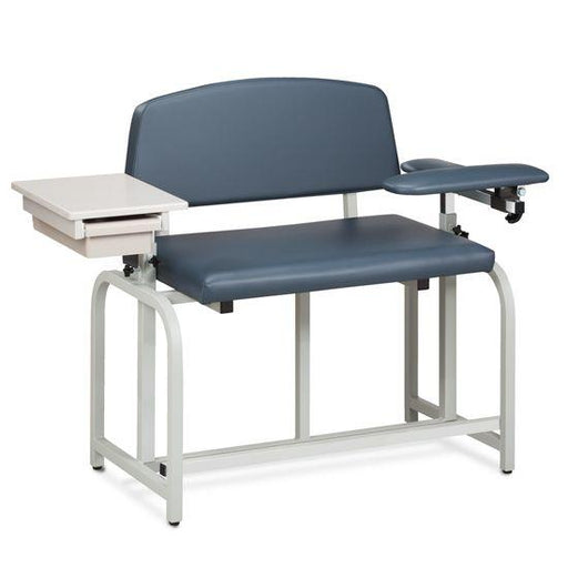 Clinton Lab X Series Extra-Wide and Extra-Tall Blood Chair with Padded Flip Arm and Drawer