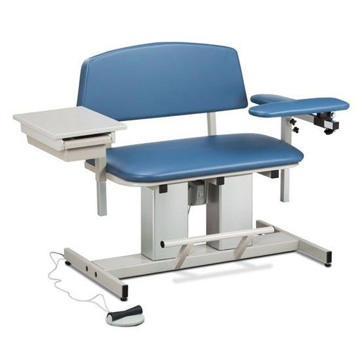 Clinton Power Series Bariatric Blood Drawing Chair with Padded Flip Arm and Drawer