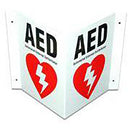 Defibtech AED Signage - 3- Way AED Wall Sign  - DFT-DAC-230