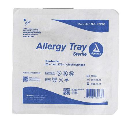 Dynarex Allergy Non-Safety Syringe Tray