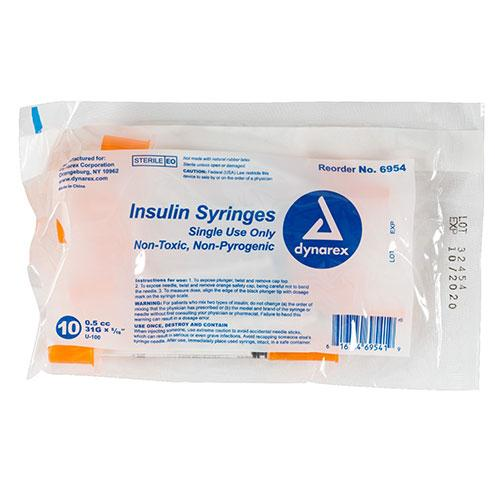 "Dynarex Insulin Syringe (Non-Safety) - 0.5 cc - 31 G, 0.31"" Needle"