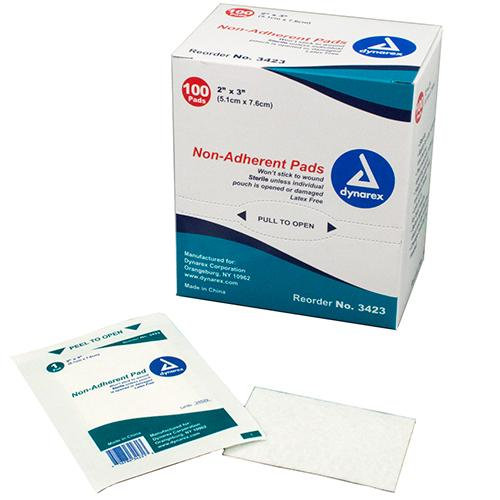 "Dynarex Non-Adherent Pads - Sterile - 2"" x 3"""