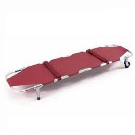 Ferno 11 Folding Emergency Stretcher with Wheels and Posts - Burgundy