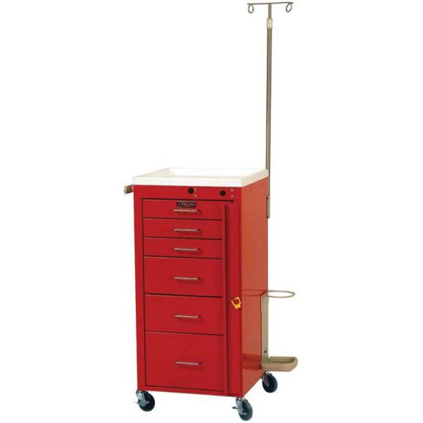 Harloff 3156B-EMG Six Drawer Emergency Mini Cart - Breakaway Lock, Specialty Package