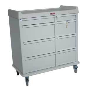 Harloff AL602PC OptimAL Line All Aluminum 600 Punch Card Medication Cart W/Double Wide Narcotics Drawer