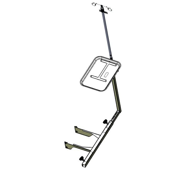TransMotion Medical Monitor Tray with IV Rod Overhead View