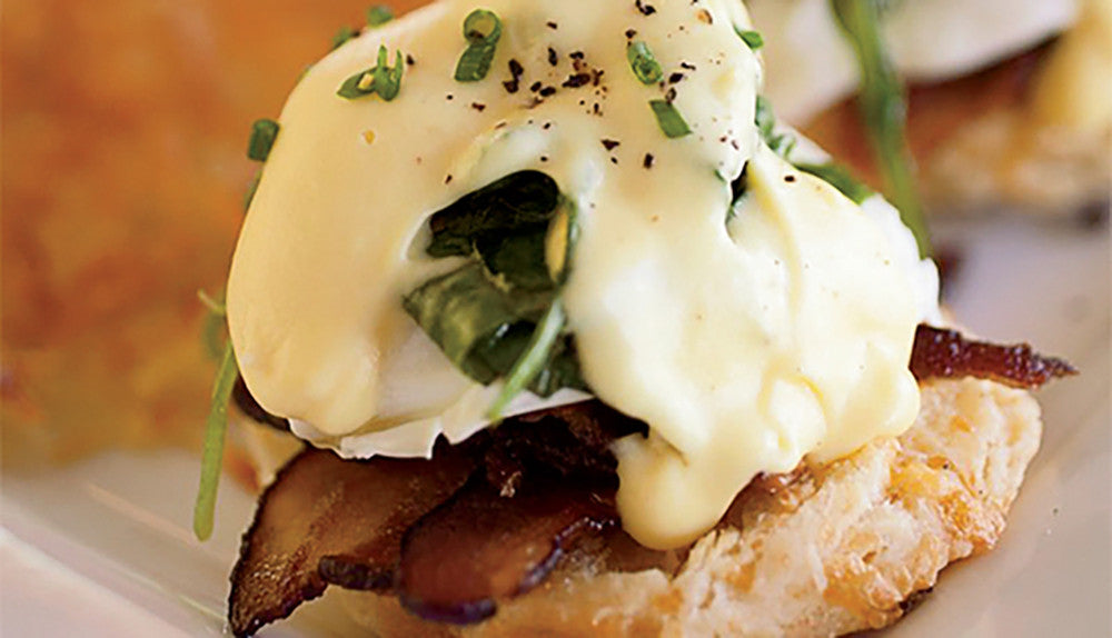 LAMB BACON BENEDICT W/ CURRY LIME HOLLANDAISE